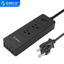 ORICO 2 gniazdo elektryczne ochronnik przeciwprzepięciowy z 4 gniazdo USB wtyczka amerykańska Mutiple Home Office szybka ładowarka Smart Power Strip