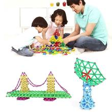 107pcs Magnetic Building Blocks Sticks Set Children's Puzzle Magnetic Strips Educational Beads Toy Toy Develop For Kids Mag I4M4