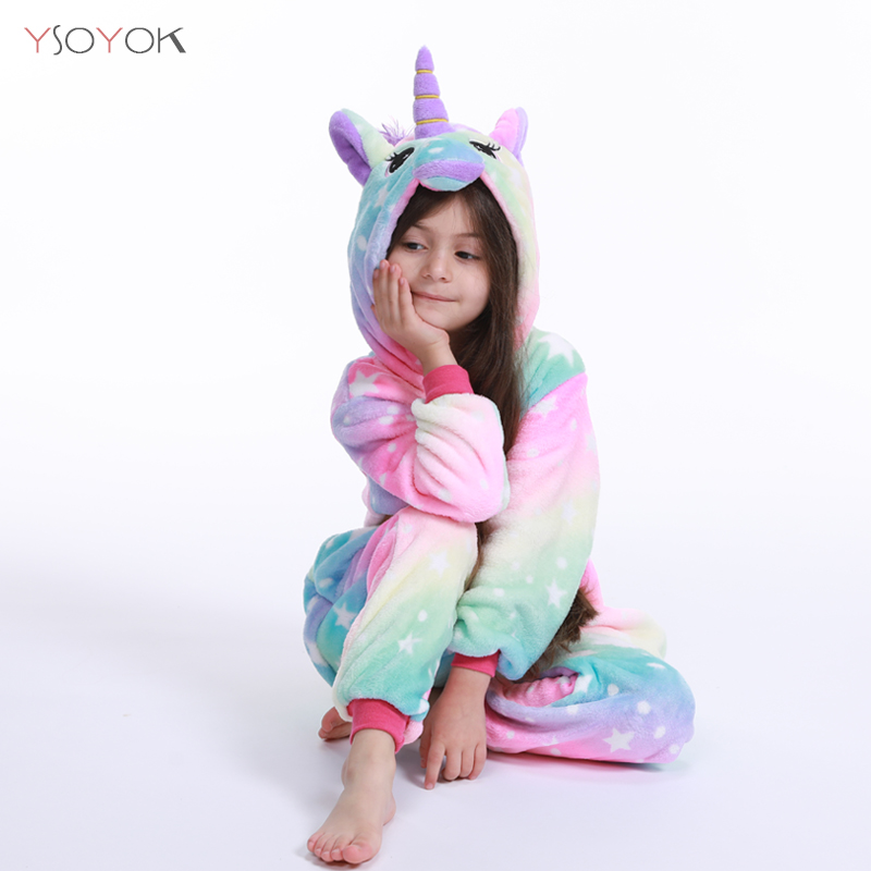 Kigurumi Children Winter Sleepwear Kids Unicorn Panda Pajama Sets Baby Girls Boys Licorne Stitch Onesies For 4 6 8 10 12 Years
