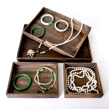 Classic Wooden Jewelry Tray Organizer Bangle Earrings Bracelets Choker Necklaces Pendants Storage Plate
