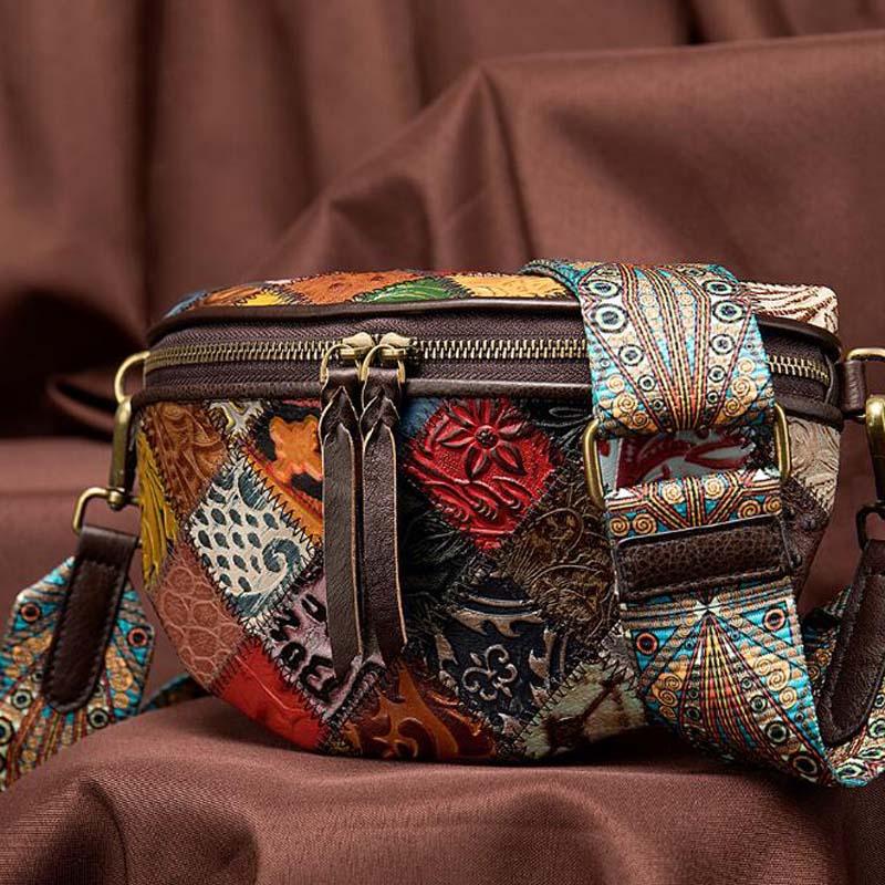 Vintage Splice Shoulder Bag Women Folk Custom Leather Shopping Bag High Quality Floral Wide Strap Sac De Plage Bolsa Chest Bags
