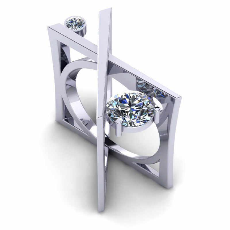 Уникальный Женский Круглый Кристалл палец кольцо Роскошные обручальные кольца для влюбленных для женщин Винтаж 925 Серебро Геометрические свадебные кольца