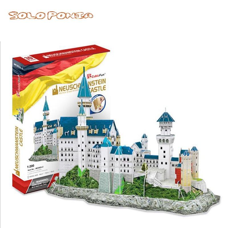 44 cm neuschwanstein Castillo edificio modelo 3D papel tridimensional puzle educativo infantil DIY montado niños regalo Barras de juguete con imán DIY, bloques de construcción magnéticos, juguetes de construcción para niños, juguetes educativos de diseño para niños, bolas de Metal