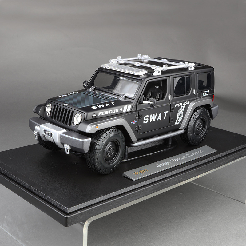Wrangler Swat <font><b>1:18</b></font> Diecast Model Cars Decorations Home Static Simulation Metal Car Miniatures <font><b>Voiture</b></font> Mini Car Collection Toys image