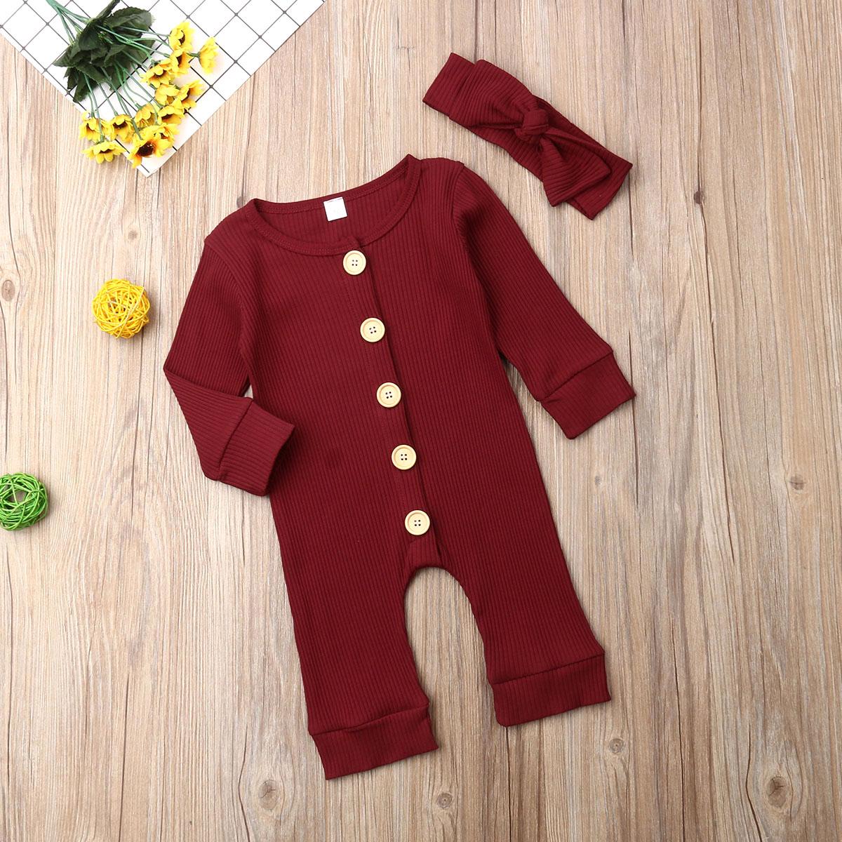 Ha316183721474d2580b7bb847027b81di Spring Fall Newborn Baby Girl Boy Clothes Long Sleeve Knitted Romper + Headband Jumpsuit 2PCS Outfit 0-24M