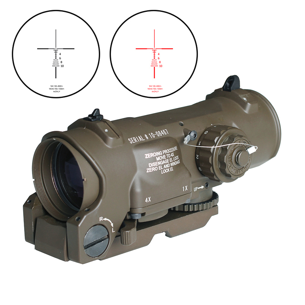 Tactical Rifle Scope 1x-4x Fixed Dual Purpose Scope Red Illuminated Red Dot Sight For Rifle Hunting Shooting