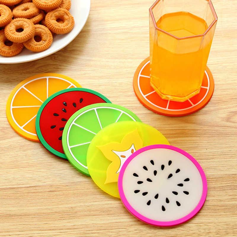 2 Buah Cup Mat Pad Warna-warni Buah Berbentuk Anti-Scald Coaster Tahan Panas Kopi Teh Minuman Panas Tatakan Bersantap meja Dapur AC