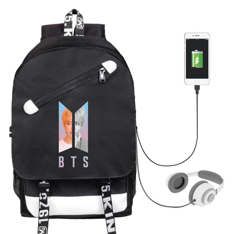 Men's And Women's Student Backpack Celebrity Inspired Related Canvas School Bag USB Shackles Bag
