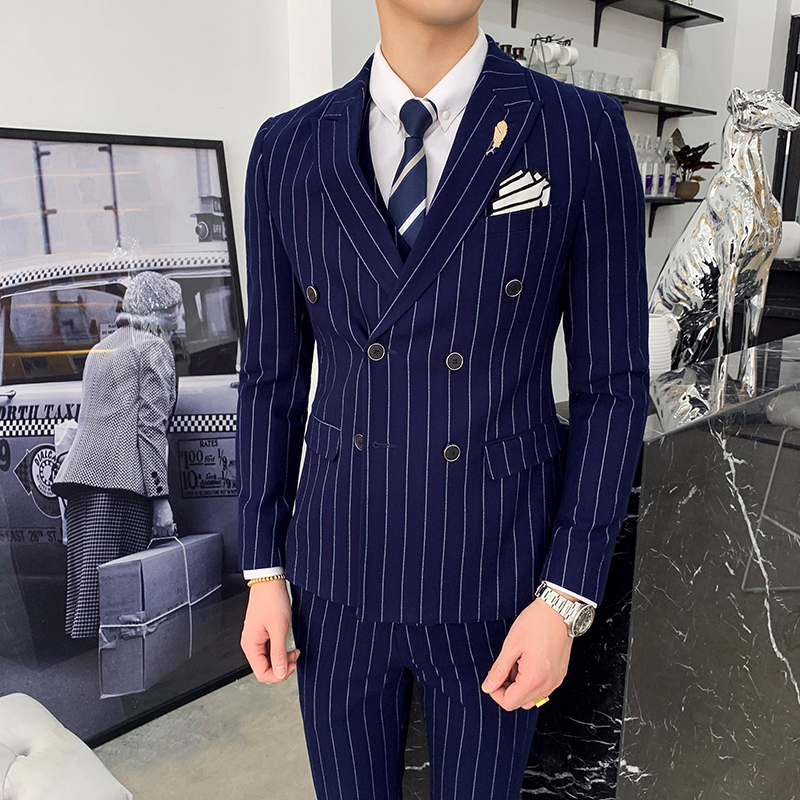 New Arrival Business Casual Slim Fit Stripe Suit Three-piece Suit