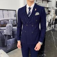 New Arrival Business Casual Slim Fit Stripe Suit Three piece Suit