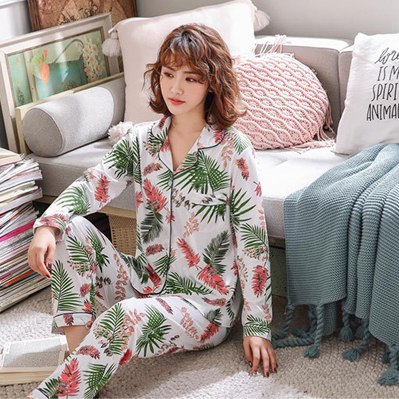 Women Pajamas Set Long Sleeve Pajamas For Women V-collar Sleepwear Pijamas Milk Silk Pajama Set Women Winter Pyjamas