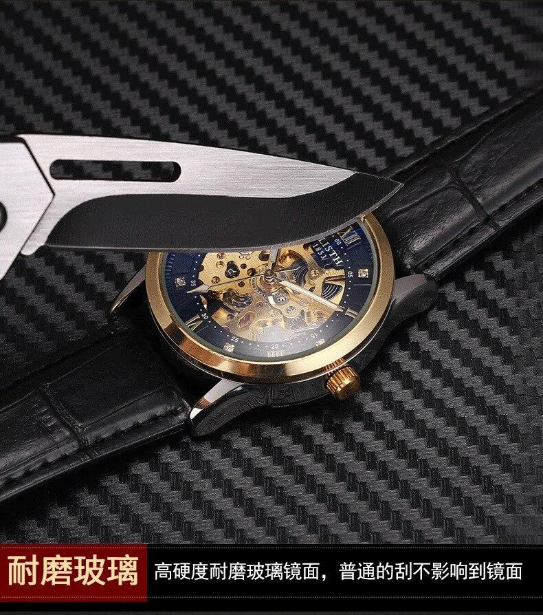 Relógio mecânico masculino de enrolamento automático relógio