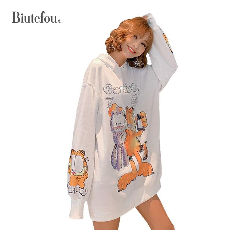 2019 Autumn Cec Sweatshirts Beading Cartoon Loose Fashion Women Long Sweatshirts
