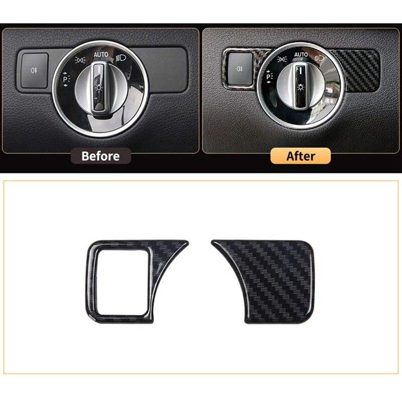 Karbon Fiber kafa işık lambası anahtarı kapağı Sticker, oto parçaları İç, benz GL GLS X166 GLE W166 AMG W176 W246 CLA