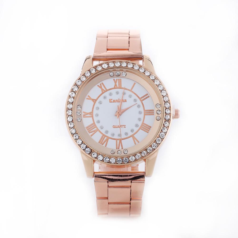 Fashion Couple Watch For Lovers Women's Rhinestone Roman Numerals Alloy Band Clock Quartz Watch Rose Gold Wrist Watch парные час