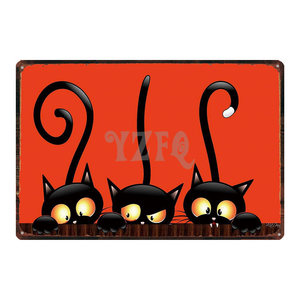 Black Cat Tin Signs Metal Plate Wall Poster Bar Party Halloween Decorations For Home Vintage Iron Poster Cuadros DU-3148