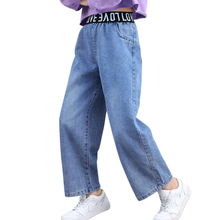 Jeans Girls Child Spring Patchwork Letter Casual for Kid's Autumn
