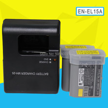 2pc EN-EL15A ENEL15A EN EL15A Batterij Pack Voor Nikon Camera D850 D7000 D600 D810 D750 D610 D7500 D7200 Met MH-25A charger