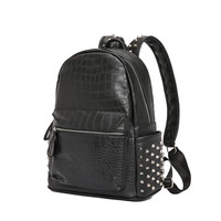 crocodile pattern leather backpack Women small Backpacks female rivet travel bagpack black School Bags For Girls mochila bolso
