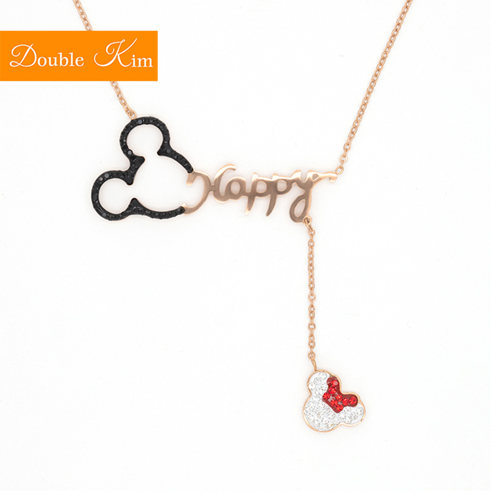 Happy Cartoon Mouse Pendant Necklace Titanium Steel Chain Necklace Inlaid Crystal Fashion Trendy Women Jewelry Birthday Gift