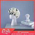 Керамическая ваза в форме головы человека круглая Цветочная композиция для дома и гостиной свадебное украшение белая черная ваза для цвето...