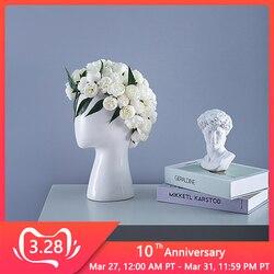 Ludzka głowa kształt ceramiczny wazon okrągły otwór kompozycja kwiatowa strona główna projekt salonu dekoracja ślubna biały wazon z czarnym kwiatem w Doniczki i skrzynki do kwiatów od Dom i ogród na