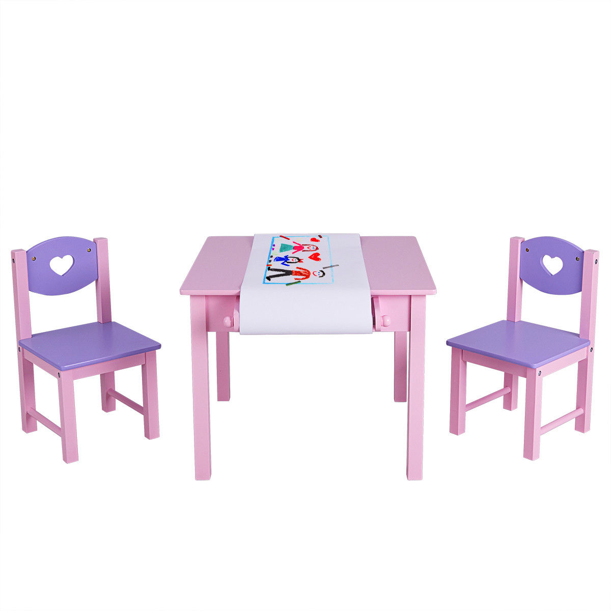 Costway Kids Art Table And 2 Chairs Set With Paper Roll Rack & 2 Drawers For Painting