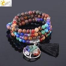 Csja pulseira, pulseira multicamadas pedra natural de cura 108 mala, rosário, vida de árvore borla pingente de meditação f683