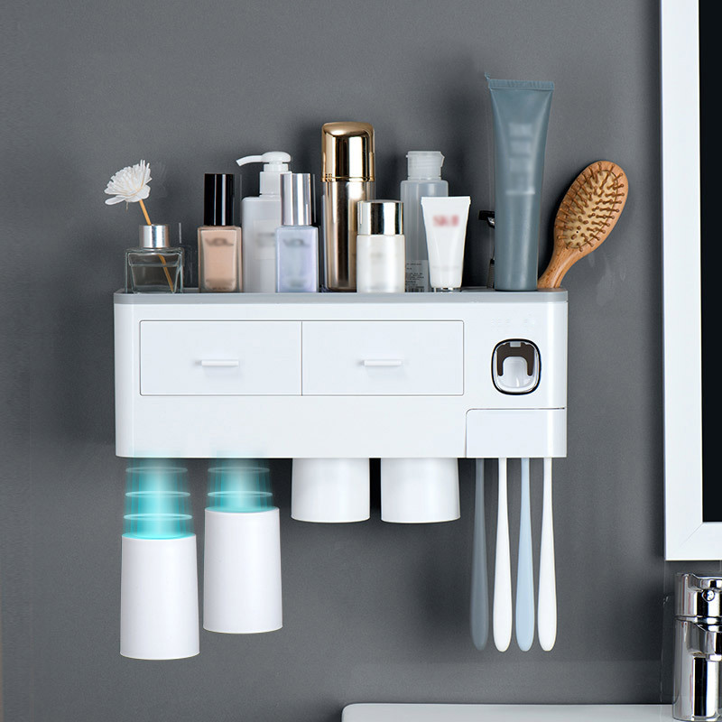 Magnetic Adsorption Toothbrush Holder Automatic Toothpaste Dispenser With Cups Wall Mount Storage Rack Bathroom Accessories Set image