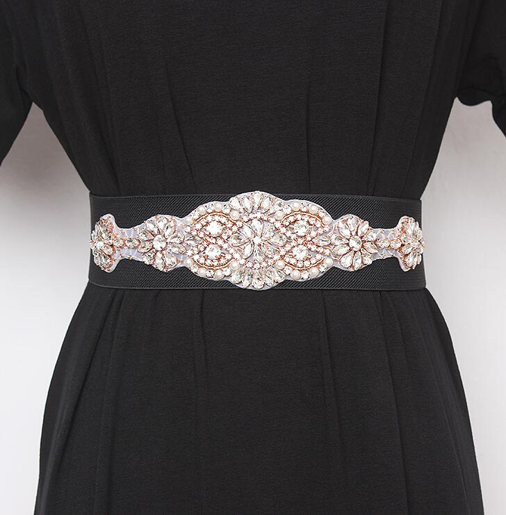 Women's Runway Fashion Blingbling Rhinestone Beaded Cummerbunds Female Dress Corsets Waistband Belts Decoration Wide Belt R2429