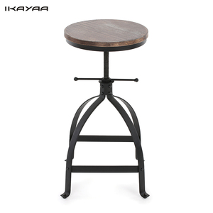iKayaa Industrial Bar Stool Adjustable Height Swivel Kitchen Dining Breakfast Chair Natural Pinewood Top Bar Stools