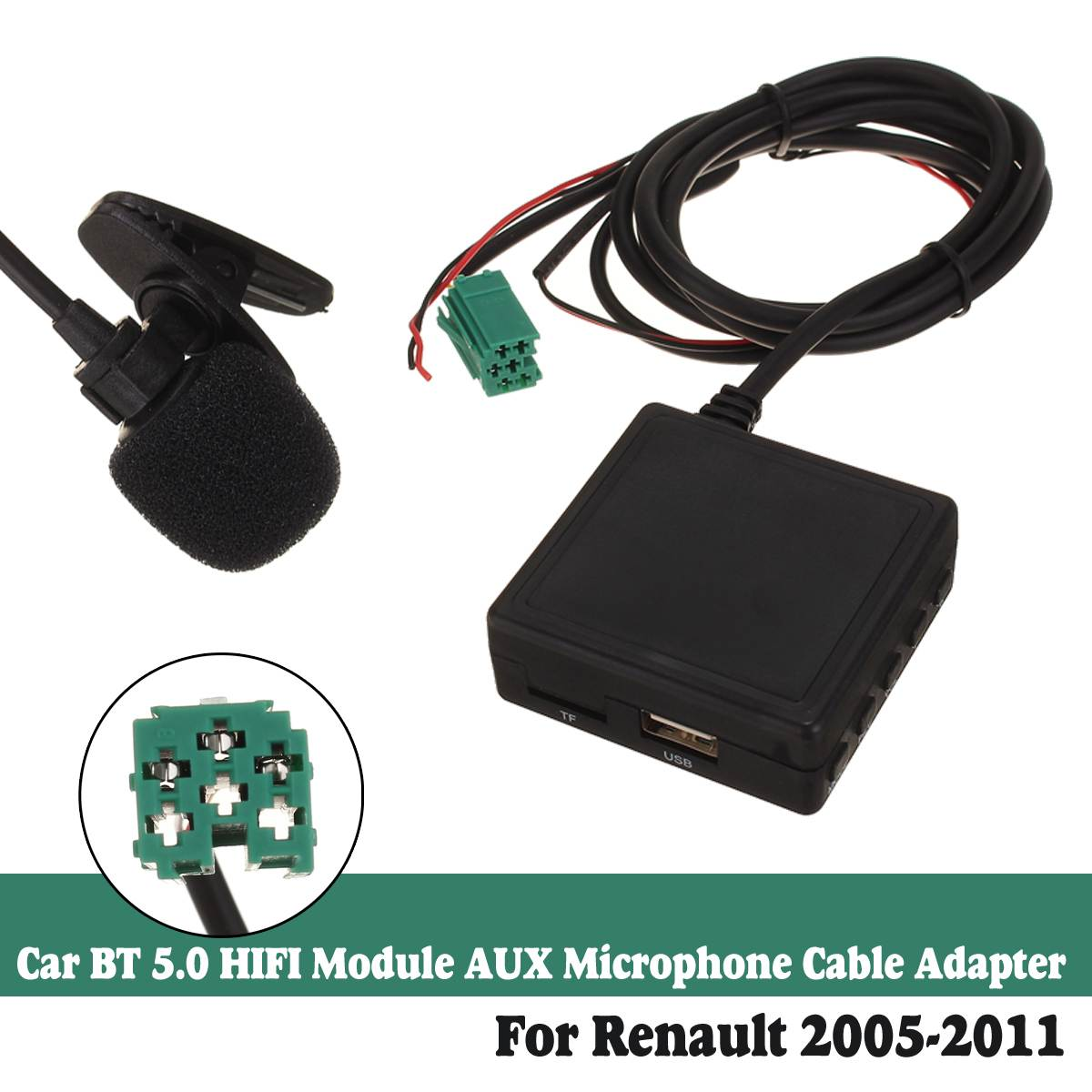 6Pin 3.5 MM AUX TF USB Microphone Media bluetooth AUX Adapter Cable Stereo For Renault 2005-2011