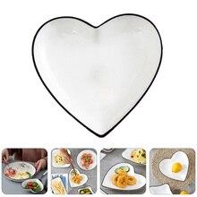 Plates Dishes Ceramic Heart-Shape Dessert Fruits White 2pcs Dried 1set