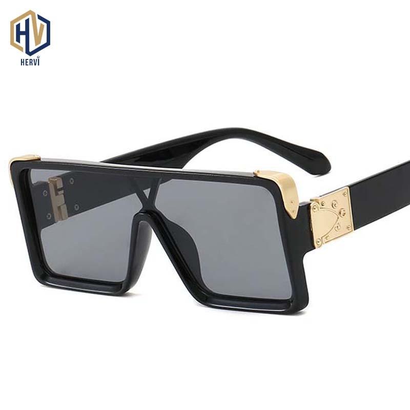 Casual Fashion Siamese UV Sunglasses New Men Women Square Big Frame Sun Glasses European American Retro Gradient Eyeglasses