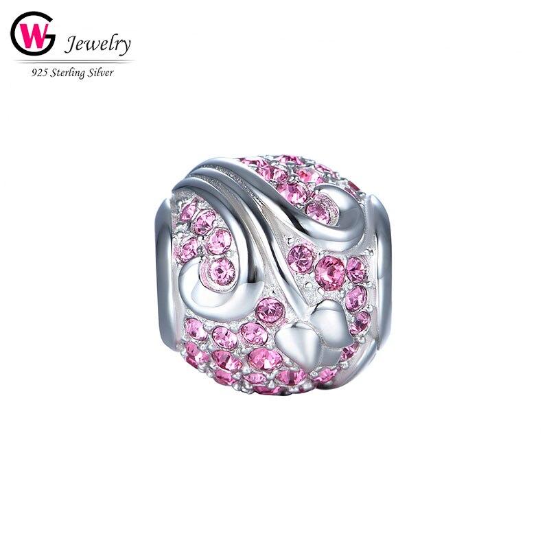 Marque 2019 Fit bracelet à breloques Pandora Original bracelet 925 en argent Sterling étoile rose boule Zircon pierre femme perle Berloque Mujer
