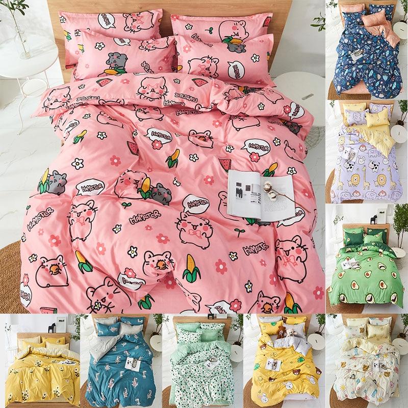 4pcs Cute Cartoon Flower Bedding Set Polyester Home Textile Garden Bed Sheet Quilt Cover Pillow Case Boy Girl Bedding