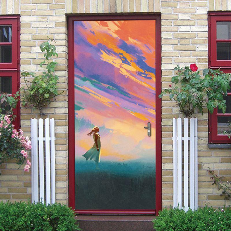 3D Beautiful Landscape Door Stickers For Living Room Bedroom PVC Adhesive Wallpaper Home Decor Waterproof Mural Decal