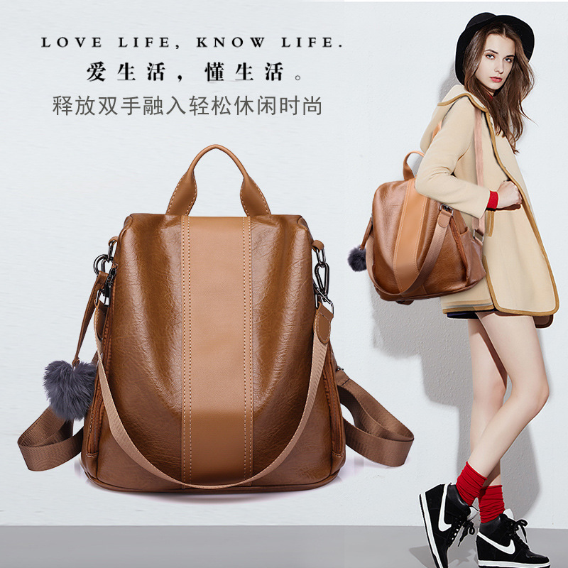 Image 2 - 2019 Women Leather Anti theft Backpacks High Quality Vintage Female Shoulder Bag Sac A Dos School Bags for Girls Bagpack Ladies-in Backpacks from Luggage & Bags