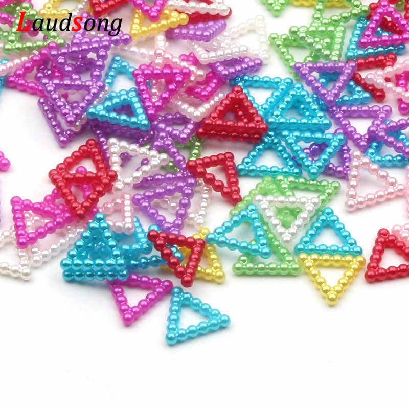 100 Pcs/lot 11X12 Mm Triangle Akrilik Manik-manik Mutiara Imitasi Manik-manik Manik-manik untuk DIY Perhiasan Membuat Seni Scrapbooking Dekorasi