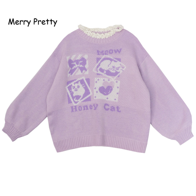 Merry Pretty Lavender Jacquard Sweater Women Winter Round Ruffled Neck Pullovers Harajuku Knitted Thick Warm Sweet Sweaters Girl