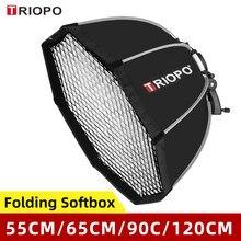 Triopo – boîte à lumière parapluie octogonale Portable Speedlite, 55cm 65cm 90cm 120cm + grille en nid d'abeille, boîte à lumière Flash d'extérieur pour Canon Godox