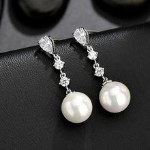 Pendientes colgantes largos para mujer, aretes largos con cristales de Color plateado, pendientes simples colgantes de perlas para novia y boda