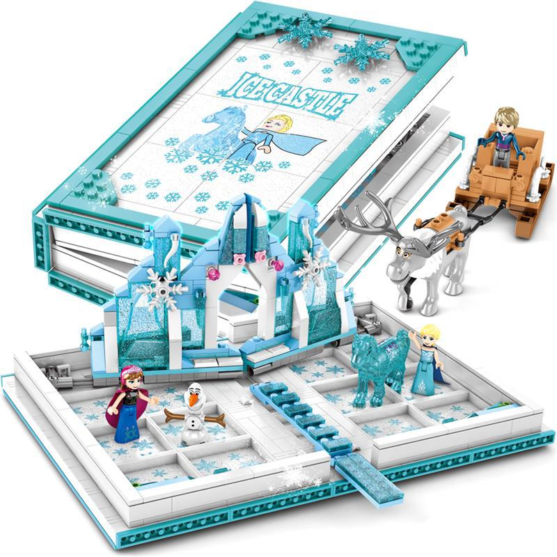 Book Ice Castle With Elsa Anna Figures Building Blocks Toys Compatible City Friends Bricks Children Toys Gifts For Girl
