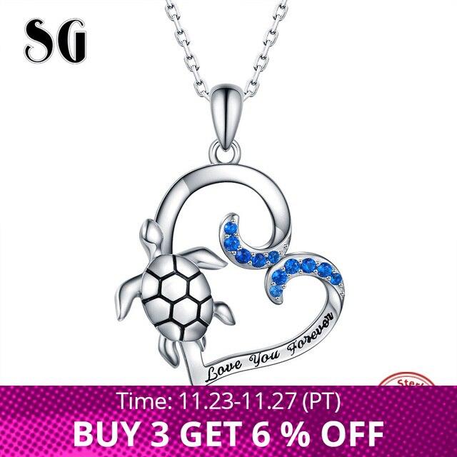 SG kolye kolye kadın takı 925 ayar gümüş kalp kolye kolye kaplumbağa moda parti takı 2019 yeni gelmesi