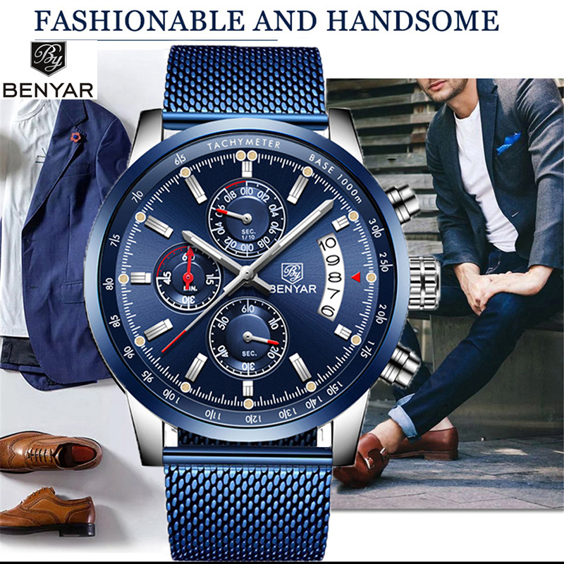 Watch Men BENYAR New Top Luxury Brand Business Date Men's Watches Mesh Stainless Steel Quartz Chronograph Clock Zegarekmeski