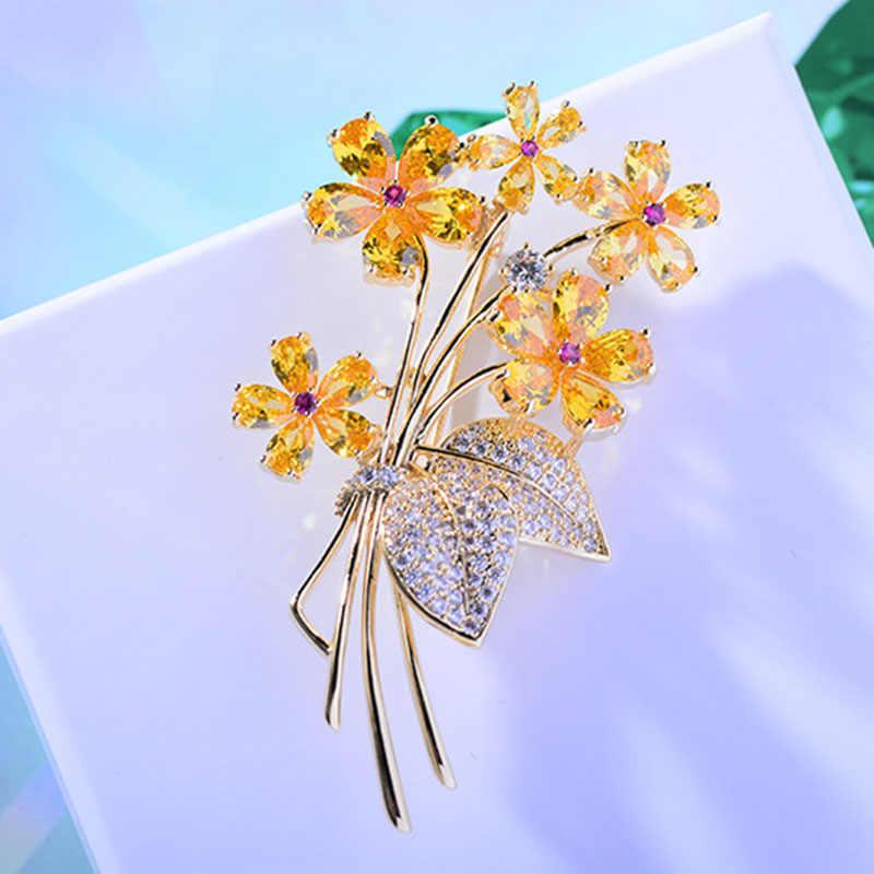 Vintage strass fleur broche pour hommes costume émail broche de luxe cristal broches pour femmes accessoires bijoux cadeaux de noël