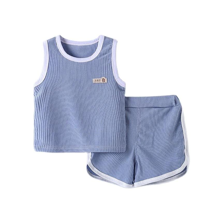 Summer Kids Clothes Boys Vest Shorts Sets Fashion Ins Korean Style Cartoon Solid Color Thin Cotton Two Piece Children