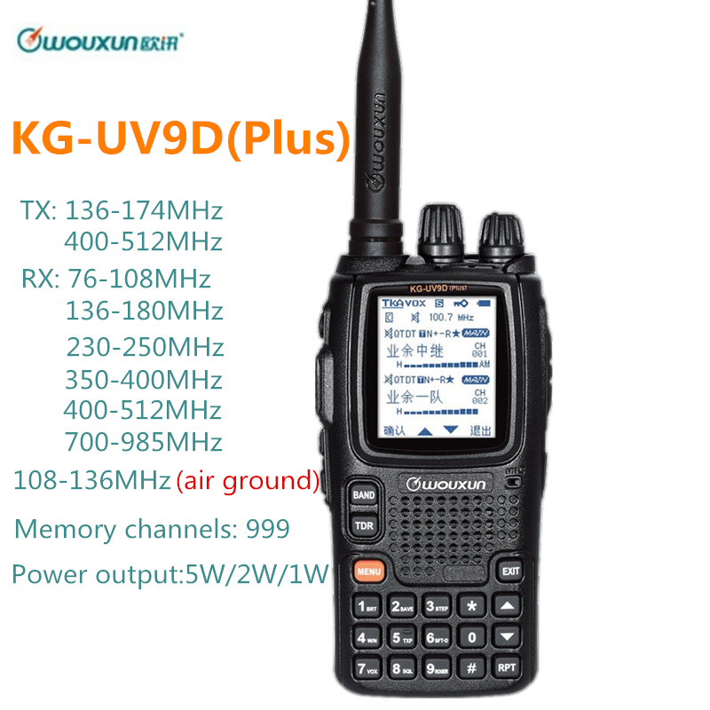 Wouxun KG-UV9D Plus Walkie Talkie Air Band 108-136MHz Police Band 350-390MHz Multibands Ham CB Radio Transceiver Kg Uv9d Plus