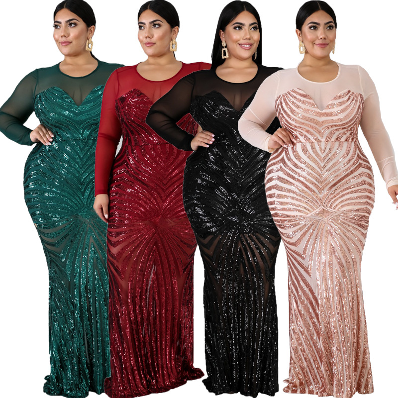 4XL 5XL Plus Size Evening Dress African Dresses For Women Black Sequins Round Neck Long Sleeves Daily Dress Party Dress