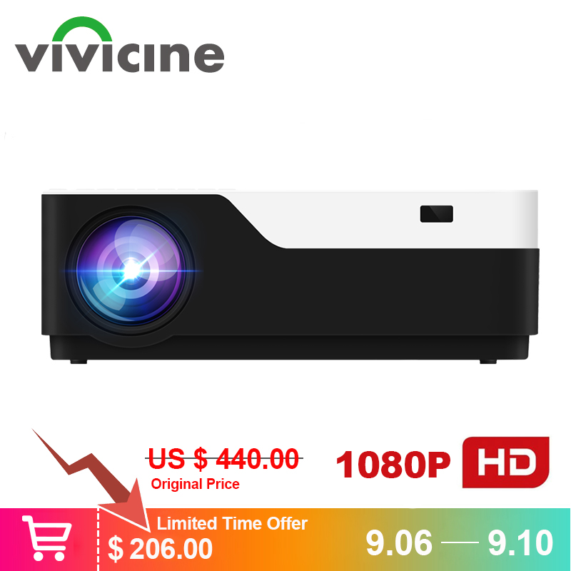 Vivicine M18 1920X1080 Real Full HD Projector, HDMI USB PC 1080p LED Home Multimedia Video Game Projector Proyector Support AC3 floor